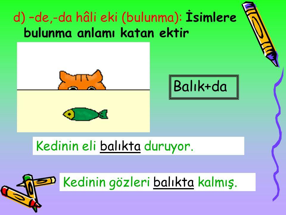 c) -e,-a hâli eki (yönelme): İsimlere yönelme anlamı katan ektir. Balık+a Kedi balığa uzanacak. Kedi+e Balık kediye bakıyor.