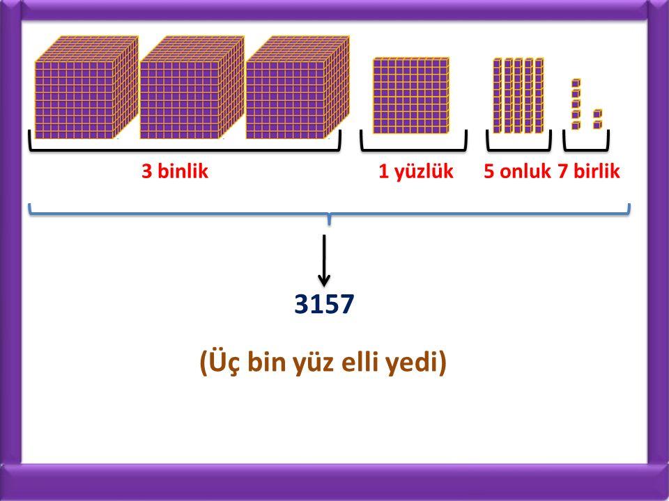3 binlik1 yüzlük5 onluk7 birlik 3157 (Üç bin yüz elli yedi)