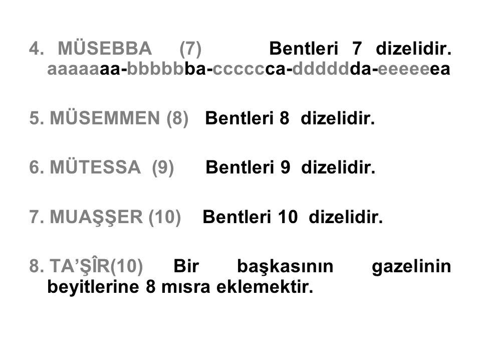 4. MÜSEBBA (7) Bentleri 7 dizelidir. aaaaaaa-bbbbbba-cccccca-dddddda-eeeeeea 5. MÜSEMMEN (8) Bentleri 8 dizelidir. 6. MÜTESSA (9) Bentleri 9 dizelidir