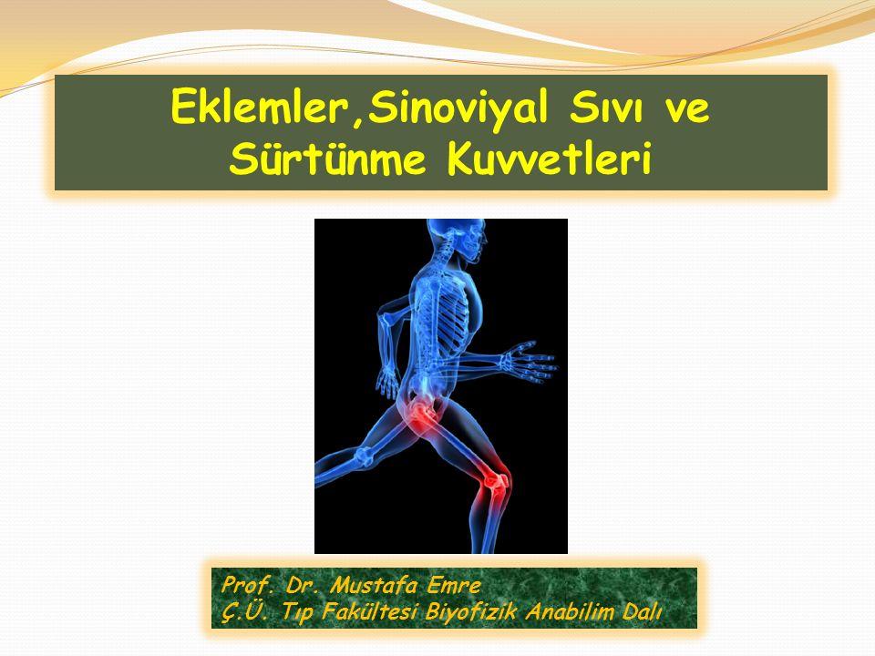 Prof. Dr. Mustafa Emre Ç.Ü. Tıp Fakültesi Biyofizik Anabilim Dalı Eklemler,Sinoviyal Sıvı ve Sürtünme Kuvvetleri