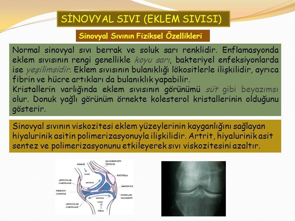 Sinovyal sıvının viskozitesi eklem yüzeylerinin kayganlığını sağlayan hiyalurinik asitin polimerizasyonuyla ilişkilidir. Artrit, hiyalurinik asit sent