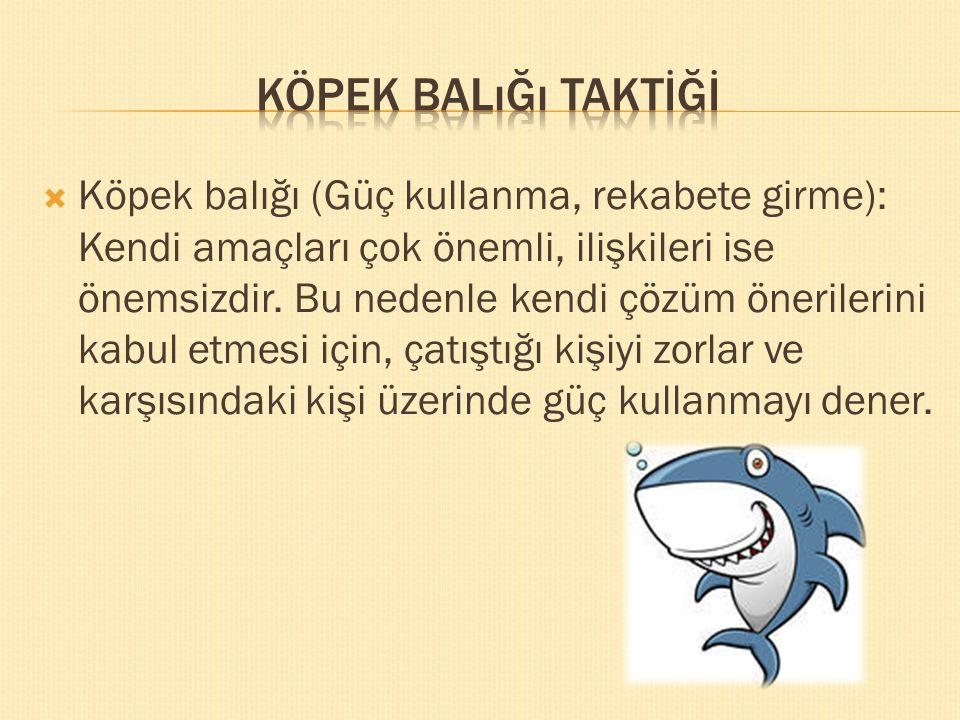  Köpek balığı (Güç kullanma, rekabete girme): Kendi amaçları çok önemli, ilişkileri ise önemsizdir. Bu nedenle kendi çözüm önerilerini kabul etmesi i
