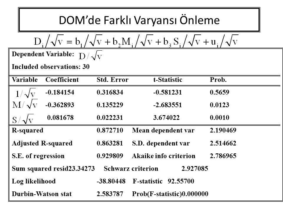 DOM'de Farklı Varyansı Önleme Dependent Variable: Included observations: 30 Variable CoefficientStd. Errort-StatisticProb. -0.1841540.316834-0.5812310