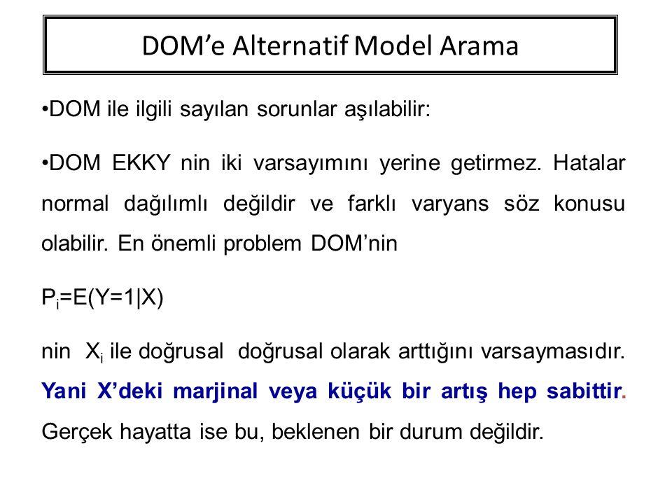 DOM'e Alternatif Model Arama DOM ile ilgili sayılan sorunlar aşılabilir: DOM EKKY nin iki varsayımını yerine getirmez. Hatalar normal dağılımlı değild