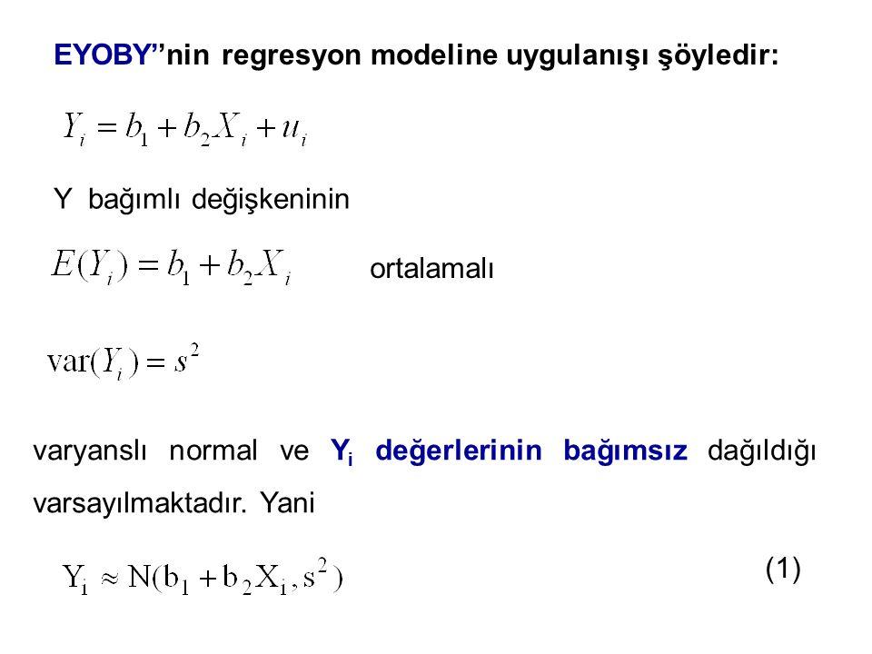 EYOBY''nin regresyon modeline uygulanışı şöyledir: Y bağımlı değişkeninin ortalamalı varyanslı normal ve Y i değerlerinin bağımsız dağıldığı varsayılm