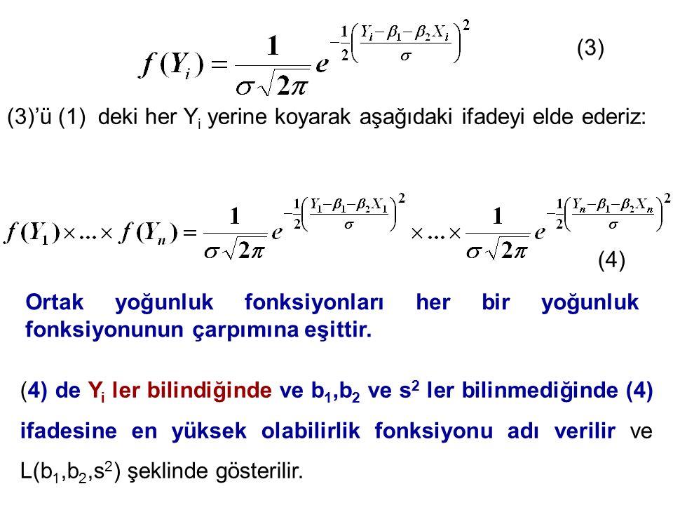(3) (3)'ü (1) deki her Y i yerine koyarak aşağıdaki ifadeyi elde ederiz: (4) (4) de Y i ler bilindiğinde ve b 1,b 2 ve s 2 ler bilinmediğinde (4) ifad