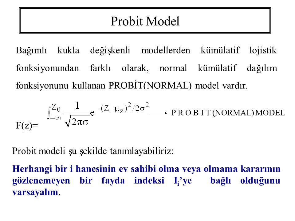 Probit Model Bağımlı kukla değişkenli modellerden kümülatif lojistik fonksiyonundan farklı olarak, normal kümülatif dağılım fonksiyonunu kullanan PROB