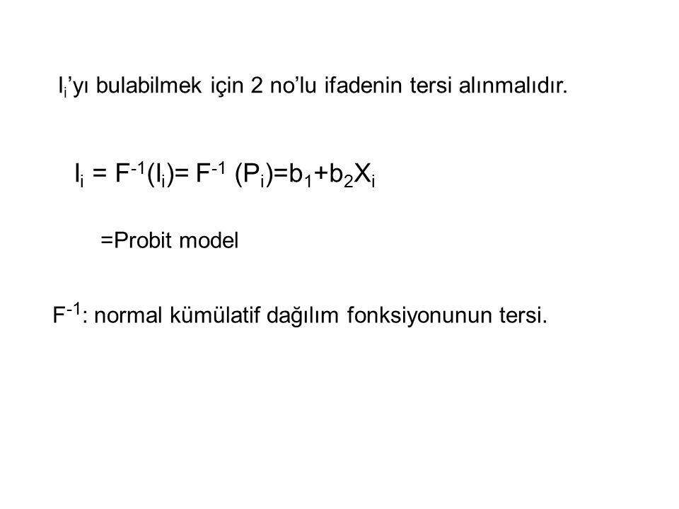 I i 'yı bulabilmek için 2 no'lu ifadenin tersi alınmalıdır. I i = F -1 (I i )=  F -1 (P i )=b 1 +b 2 X i =Probit model F -1 : normal kümülatif dağılı