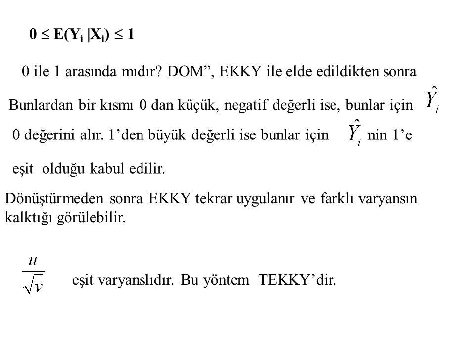 """0  E(Y i  X i )  1 0 ile 1 arasında mıdır? DOM"""", EKKY ile elde edildikten sonra eşit olduğu kabul edilir. Bunlardan bir kısmı 0 dan küçük, negatif d"""