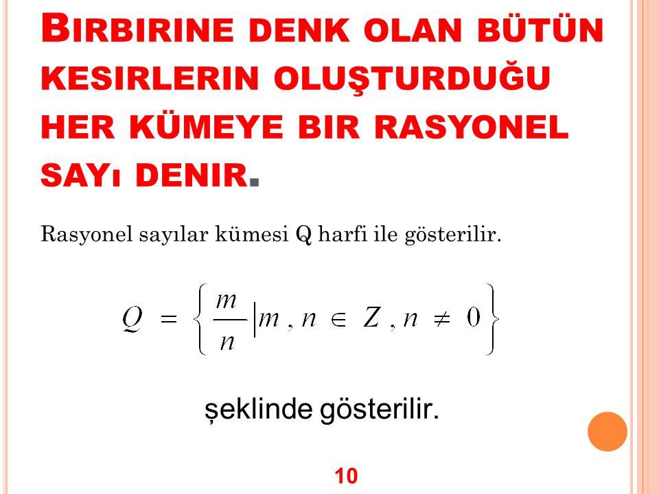 B IRBIRINE DENK OLAN BÜTÜN KESIRLERIN OLUŞTURDUĞU HER KÜMEYE BIR RASYONEL SAYı DENIR. Rasyonel sayılar kümesi Q harfi ile gösterilir. şeklinde gösteri