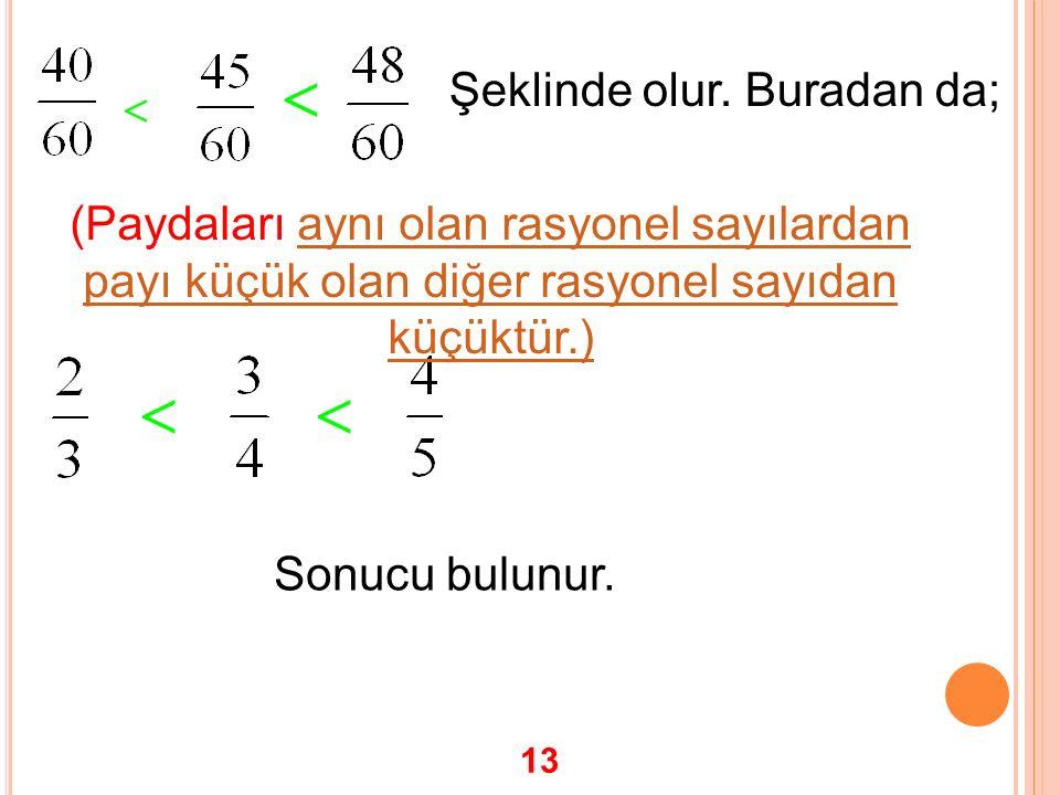   Şeklinde olur. Buradan da;  Sonucu bulunur. (Paydaları aynı olan rasyonel sayılardan payı küçük olan diğer rasyonel sayıdan küçüktür.) 13