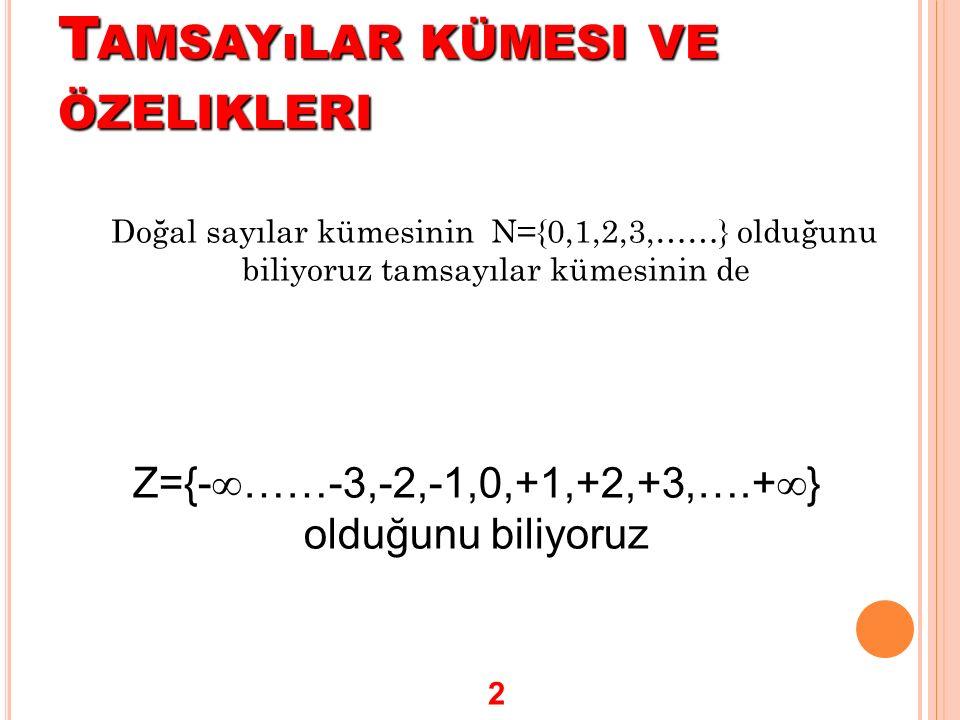 T AMSAYıLAR KÜMESI VE ÖZELIKLERI Doğal sayılar kümesinin N={0,1,2,3,……} olduğunu biliyoruz tamsayılar kümesinin de Z={-  ……-3,-2,-1,0,+1,+2,+3,….+ 