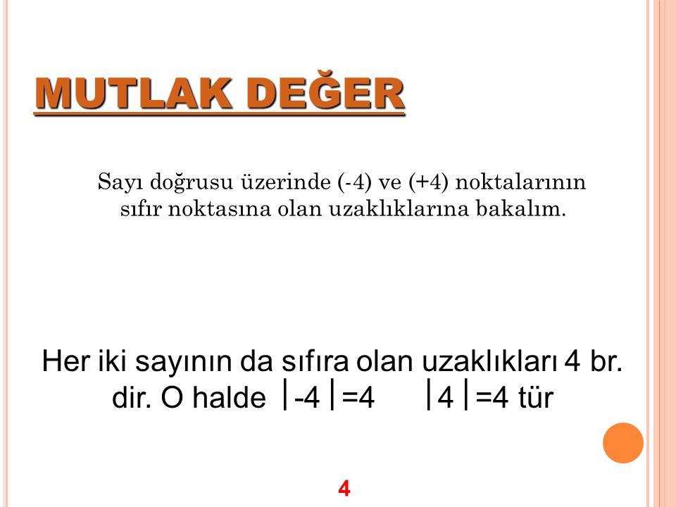 MUTLAK DEĞER MUTLAK DEĞER Sayı doğrusu üzerinde (-4) ve (+4) noktalarının sıfır noktasına olan uzaklıklarına bakalım. Her iki sayının da sıfıra olan u