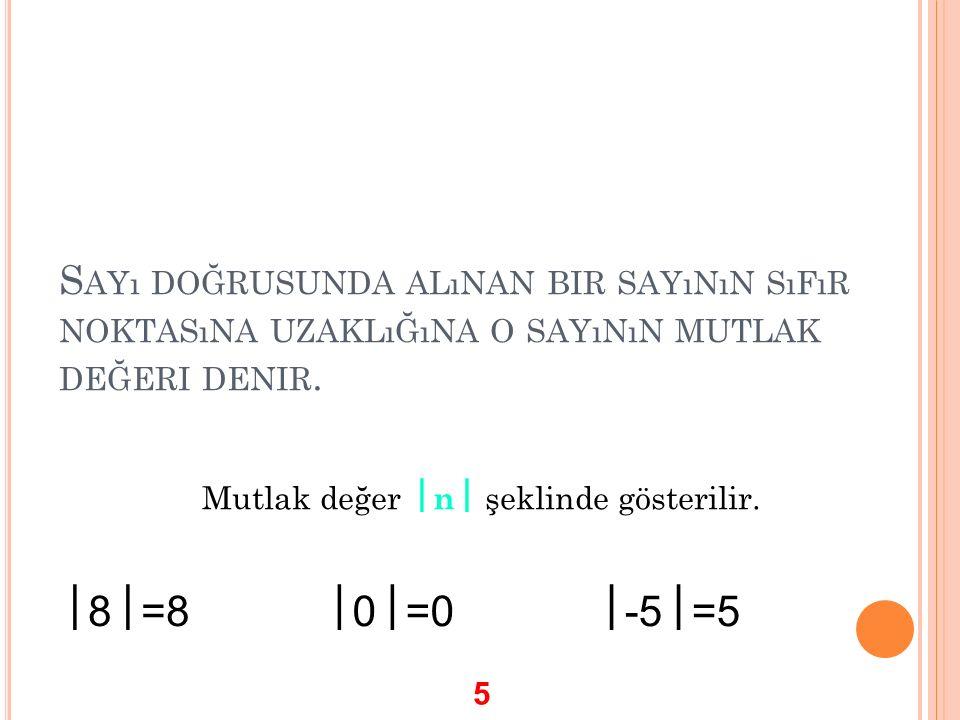 S AYı DOĞRUSUNDA ALıNAN BIR SAYıNıN SıFıR NOKTASıNA UZAKLıĞıNA O SAYıNıN MUTLAK DEĞERI DENIR. Mutlak değer  n  şeklinde gösterilir.  8  =8  0  =