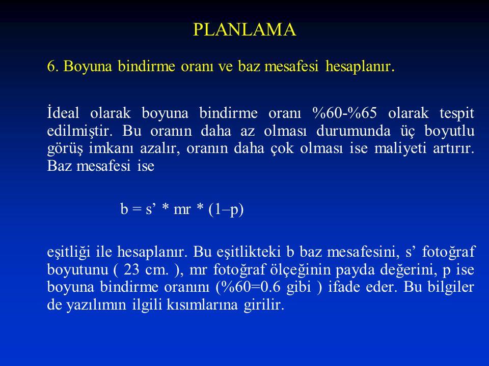 PLANLAMA 6. Boyuna bindirme oranı ve baz mesafesi hesaplanır. İdeal olarak boyuna bindirme oranı %60-%65 olarak tespit edilmiştir. Bu oranın daha az o