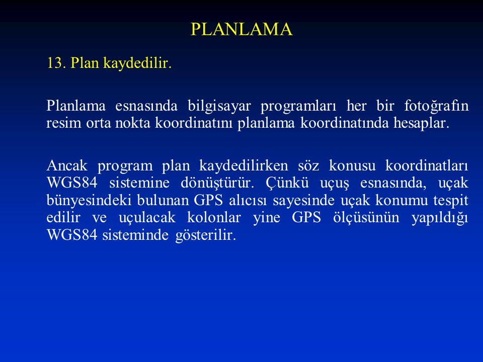 PLANLAMA 13. Plan kaydedilir. Planlama esnasında bilgisayar programları her bir fotoğrafın resim orta nokta koordinatını planlama koordinatında hesapl