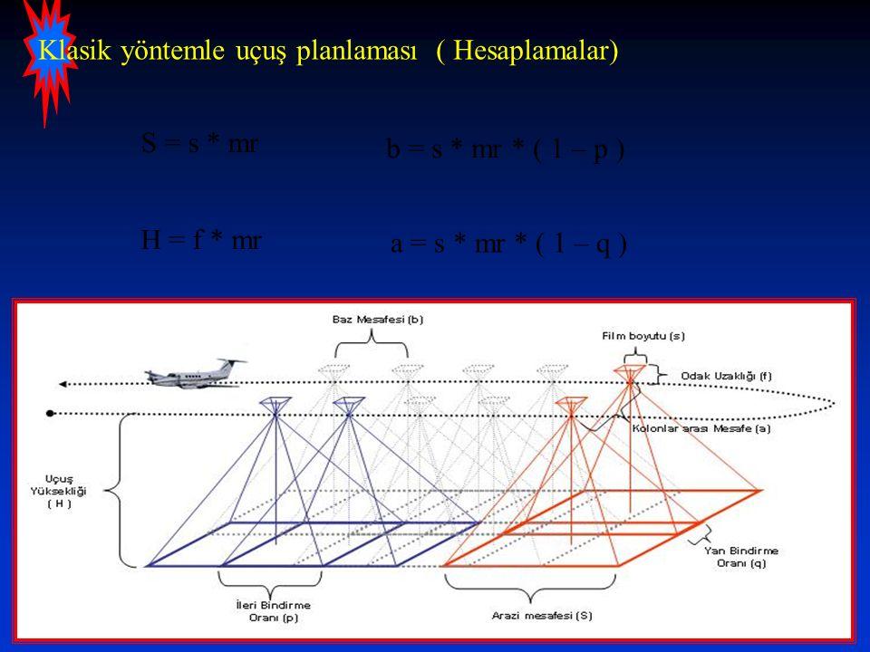 Klasik yöntemle uçuş planlaması ( Hesaplamalar) S = s * mr b = s * mr * ( 1 – p ) a = s * mr * ( 1 – q ) H = f * mr