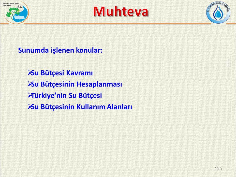 Sunumda işlenen konular:  Su Bütçesi Kavramı  Su Bütçesinin Hesaplanması  Türkiye'nin Su Bütçesi  Su Bütçesinin Kullanım Alanları 2/10