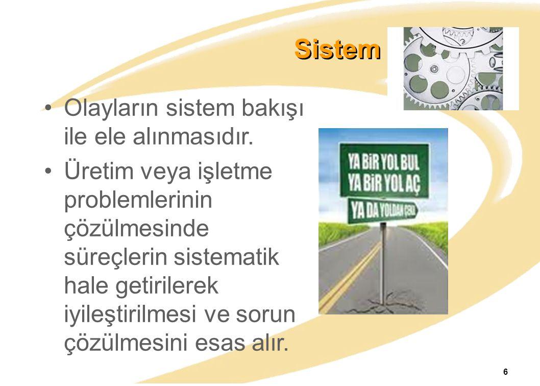 Sistem Yaklaşımı Olayların sistem bakışı ile ele alınmasıdır. Üretim veya işletme problemlerinin çözülmesinde süreçlerin sistematik hale getirilerek i
