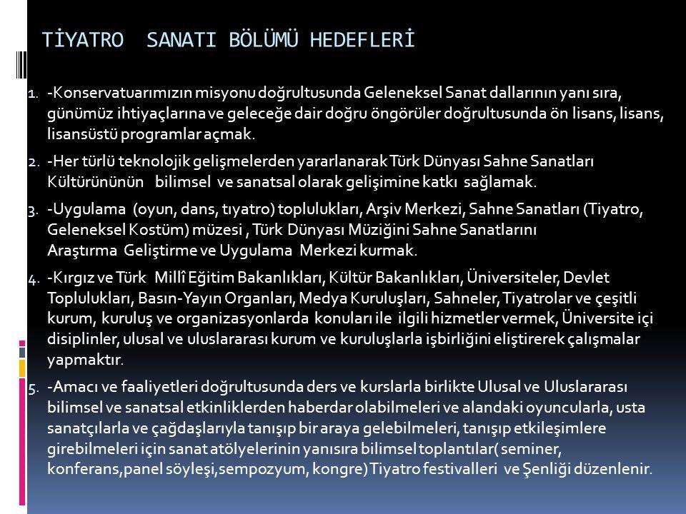 TİYATRO SANATI BÖLÜMÜ HEDEFLERİ 1.