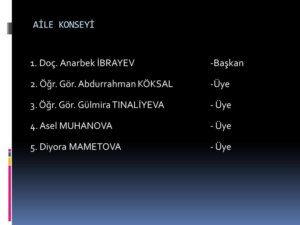 AİLE KONSEYİ 1. Doç. Anarbek İBRAYEV-Başkan 2. Öğr. Gör. Abdurrahman KÖKSAL-Üye 3. Öğr. Gör. Gülmira TINALİYEVA- Üye 4. Asel MUHANOVA- Üye 5. Diyora M