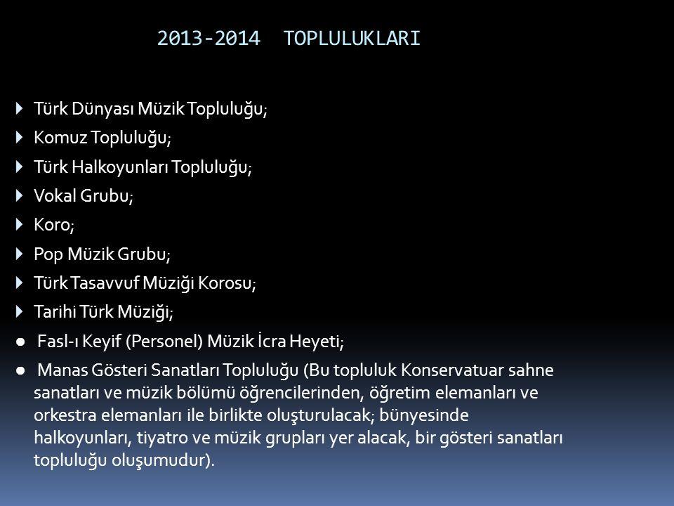 2013-2014 TOPLULUKLARI  Türk Dünyası Müzik Topluluğu;  Komuz Topluluğu;  Türk Halkoyunları Topluluğu;  Vokal Grubu;  Koro;  Pop Müzik Grubu;  T