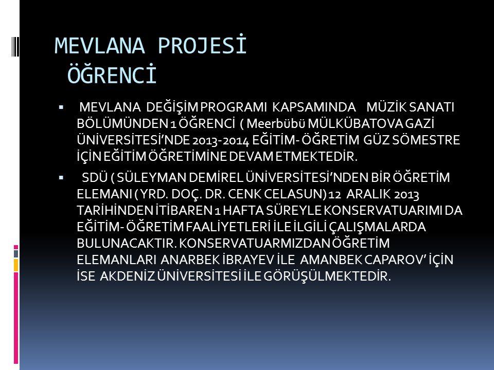 MEVLANA PROJESİ ÖĞRENCİ  MEVLANA DEĞİŞİM PROGRAMI KAPSAMINDA MÜZİK SANATI BÖLÜMÜNDEN 1 ÖĞRENCİ ( Meerbübü MÜLKÜBATOVA GAZİ ÜNİVERSİTESİ'NDE 2013-2014