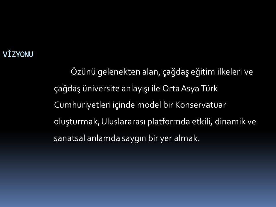 VİZYONU Özünü gelenekten alan, çağdaş eğitim ilkeleri ve çağdaş üniversite anlayışı ile Orta Asya Türk Cumhuriyetleri içinde model bir Konservatuar oluşturmak, Uluslararası platformda etkili, dinamik ve sanatsal anlamda saygın bir yer almak.