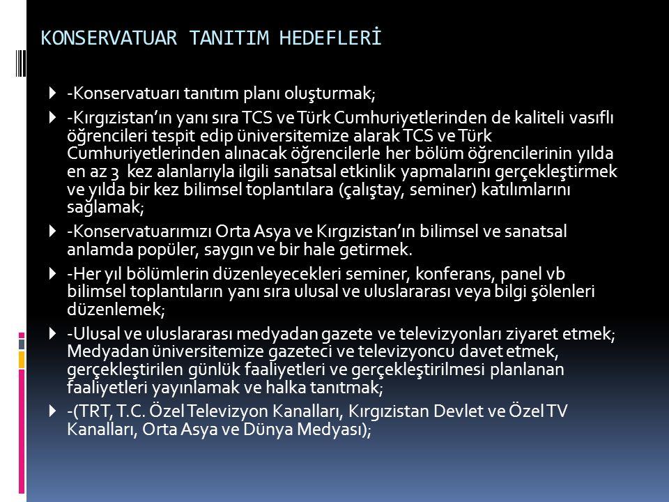 KONSERVATUAR TANITIM HEDEFLERİ  -Konservatuarı tanıtım planı oluşturmak;  -Kırgızistan'ın yanı sıra TCS ve Türk Cumhuriyetlerinden de kaliteli vasıf
