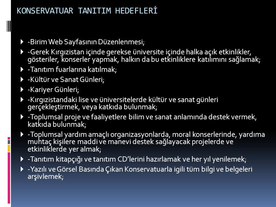 KONSERVATUAR TANITIM HEDEFLERİ  -Birim Web Sayfasının Düzenlenmesi;  -Gerek Kırgızistan içinde gerekse üniversite içinde halka açık etkinlikler, gös