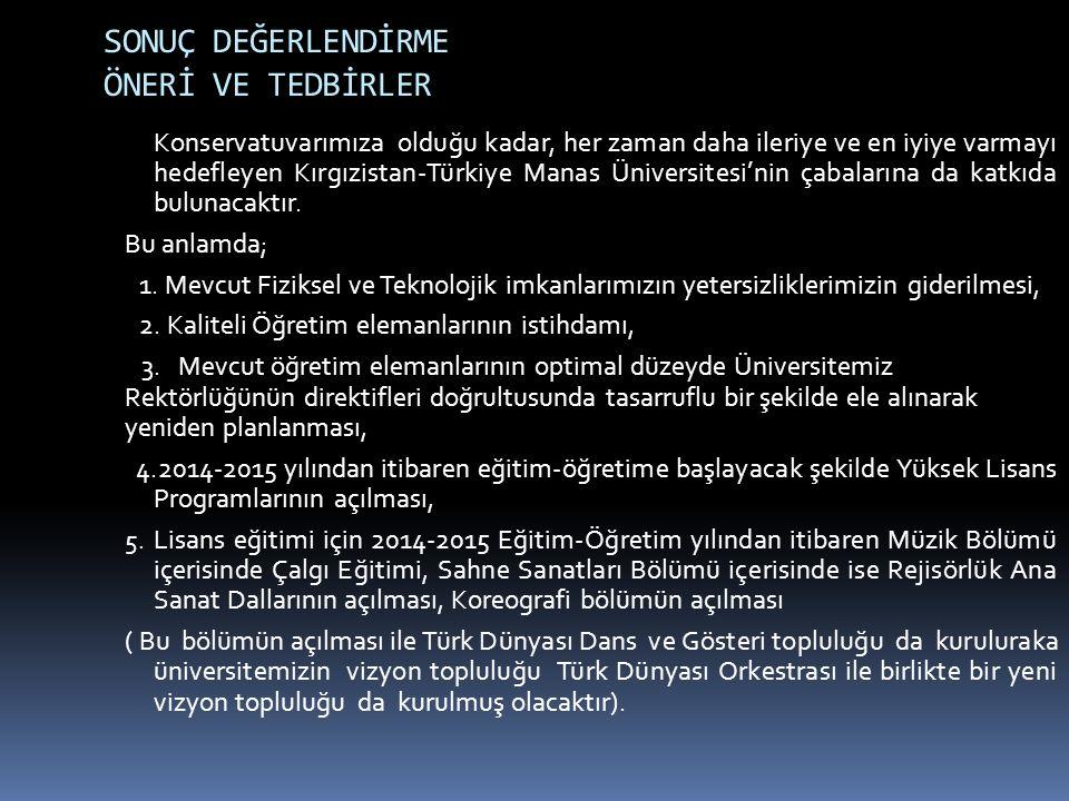 SONUÇ DEĞERLENDİRME ÖNERİ VE TEDBİRLER Konservatuvarımıza olduğu kadar, her zaman daha ileriye ve en iyiye varmayı hedefleyen Kırgızistan-Türkiye Mana