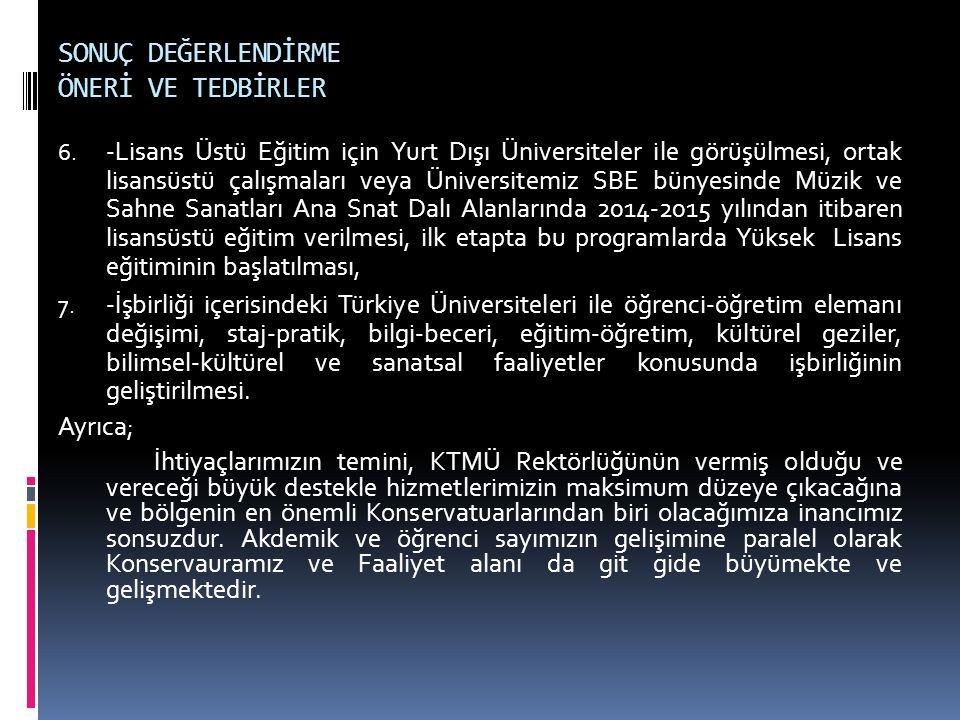 SONUÇ DEĞERLENDİRME ÖNERİ VE TEDBİRLER 6. -Lisans Üstü Eğitim için Yurt Dışı Üniversiteler ile görüşülmesi, ortak lisansüstü çalışmaları veya Üniversi