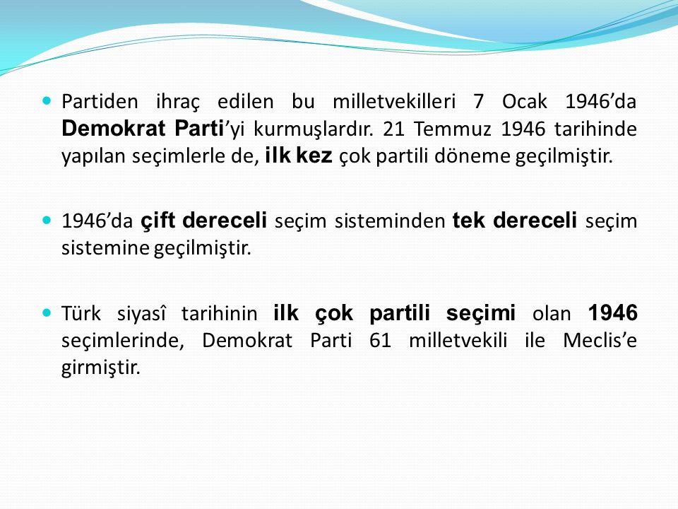 Türkiye'de Çok Partili Hayata Geçiş Çok partili hayata geçiş sürecinde kurulan ilk parti, 18 Temmuz 1945'te Nuri Demirağ tarafından kurulan Millî Kalkınma Partisi 'dir.