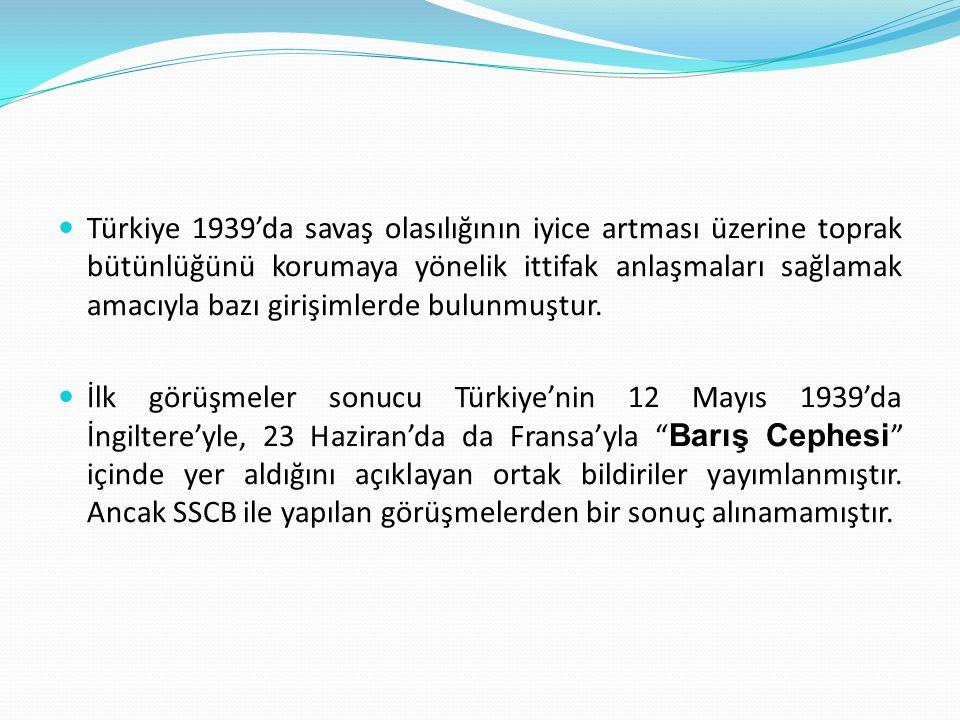 II. DÜNYA SAVAŞI DÖNEMİNDE TÜRK DIŞ POLİTİKASI (1939-1945) Dünya süratle yeni bir büyük savaşa yaklaşırken Türkiye uluslararası ortamdan da yararlanma