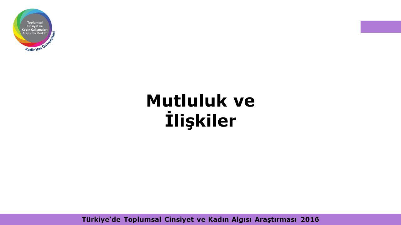 Türkiye'de Toplumsal Cinsiyet ve Kadın Algısı Araştırması 2016 Mutluluk ve İlişkiler