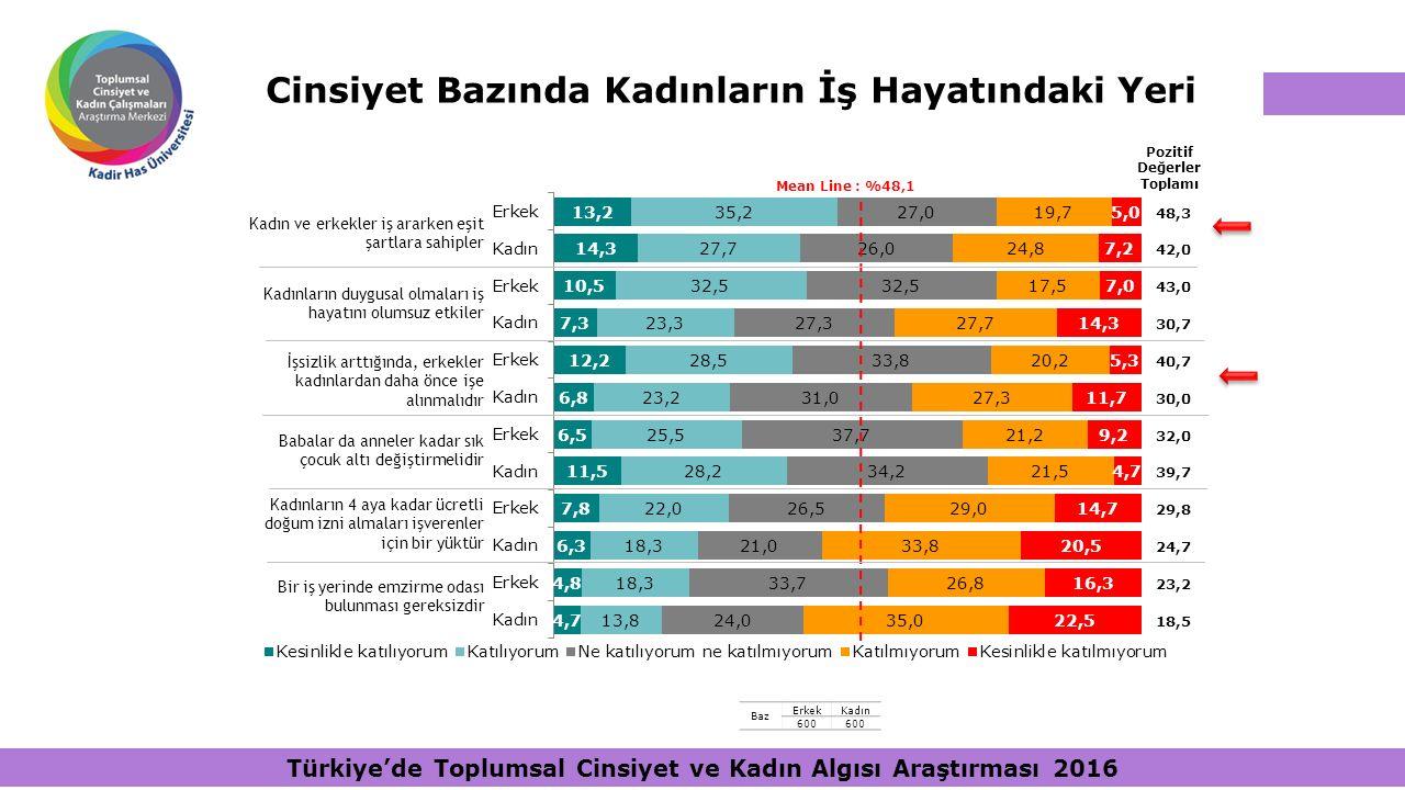 Cinsiyet Bazında Kadınların İş Hayatındaki Yeri Pozitif Değerler Toplamı Mean Line : %48,1 48,3 42,0 43,0 30,7 40,7 30,0 32,0 39,7 29,8 24,7 23,2 18,5