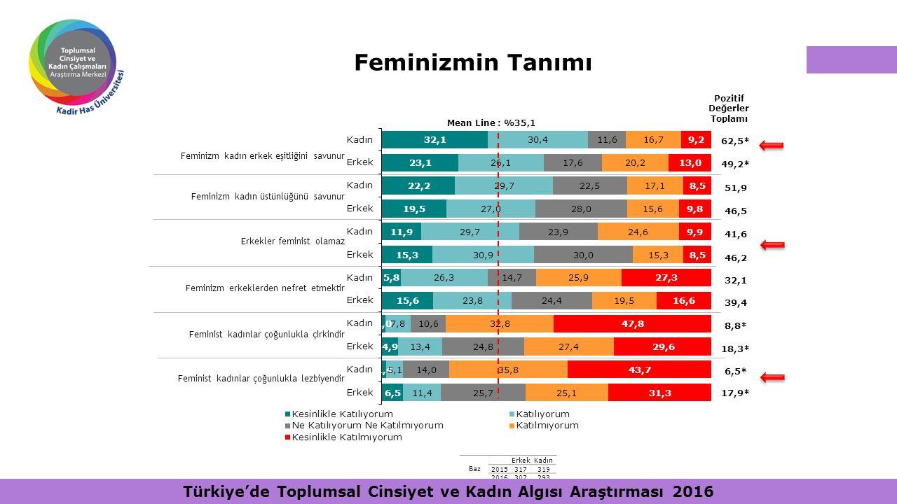 Pozitif Değerler Toplamı 62,5* 49,2* 51,9 46,5 41,6 46,2 32,1 39,4 8,8* 18,3* 6,5* 17,9* Baz ErkekKadın 2015317319 2016307293 Mean Line : %35,1 Femini