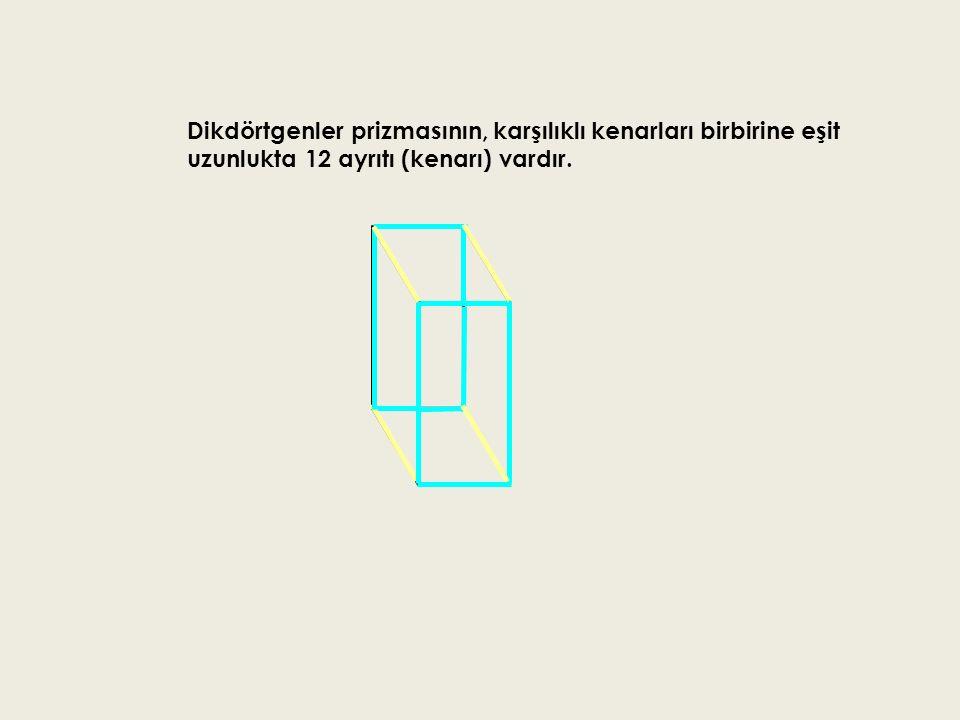Dikdörtgenler prizmasının, karşılıklı kenarları birbirine eşit uzunlukta 12 ayrıtı (kenarı) vardır.