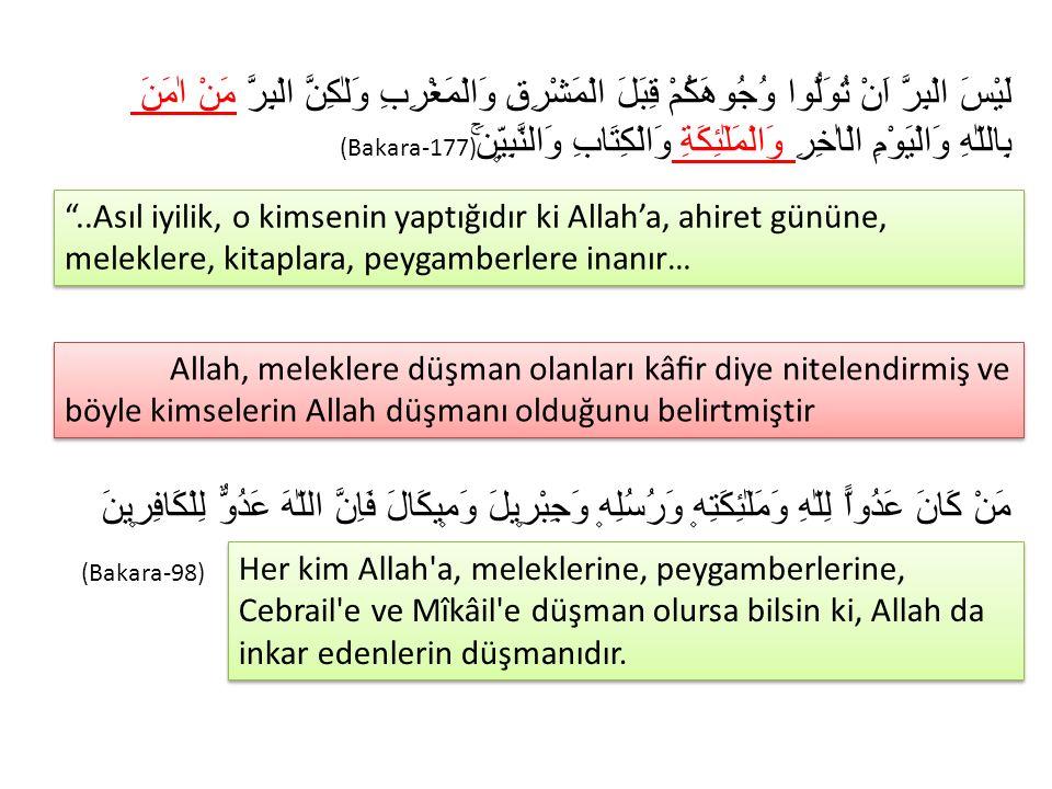 Meleklerin varlığını Kur'an haber verdiğine göre, bizler de meleklere inanır ve onların varlıklarını kabul ederiz.