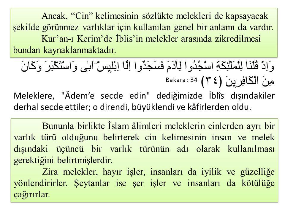 """Ancak, """"Cin"""" kelimesinin sözlükte melekleri de kapsayacak şekilde görünmez varlıklar için kullanılan genel bir anlamı da vardır. Kur'an-ı Kerim'de İbl"""