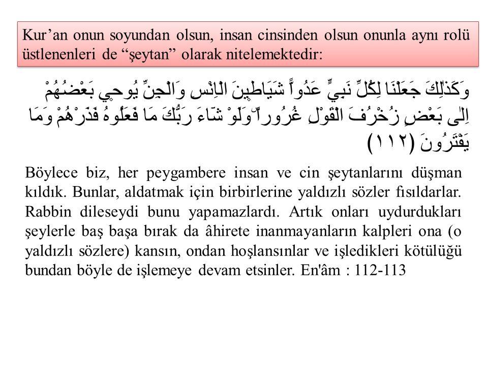 """Kur'an onun soyundan olsun, insan cinsinden olsun onunla aynı rolü üstlenenleri de """"şeytan"""" olarak nitelemektedir: وَكَذٰلِكَ جَعَلْنَا لِكُلِّ نَبِيّ"""
