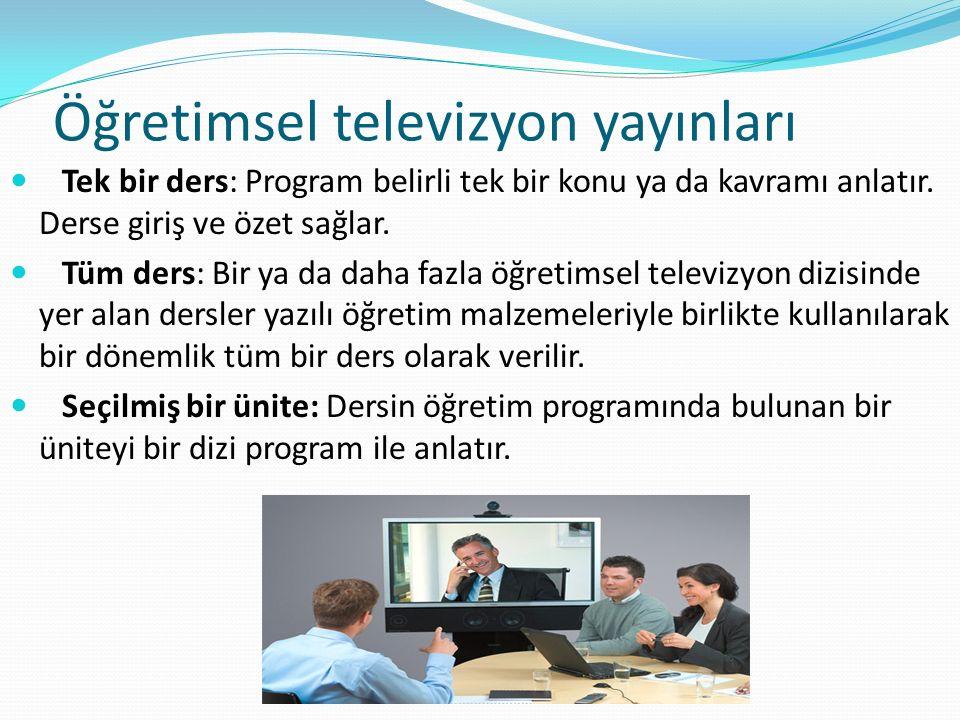 Öğretimsel televizyon yayınları Tek bir ders: Program belirli tek bir konu ya da kavramı anlatır. Derse giriş ve özet sağlar. Tüm ders: Bir ya da daha