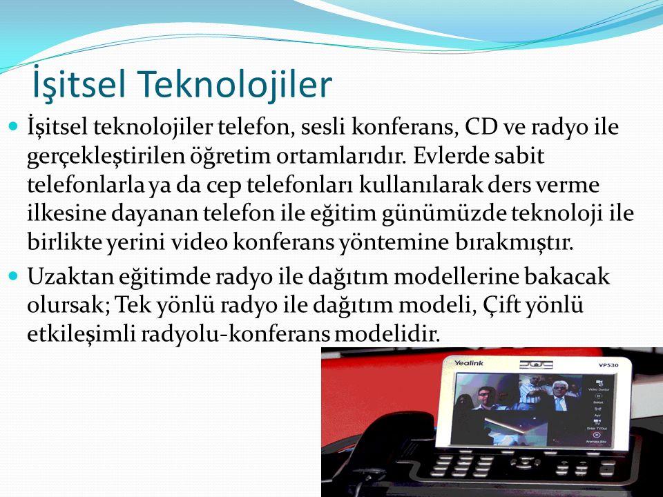 İşitsel Teknolojiler İşitsel teknolojiler telefon, sesli konferans, CD ve radyo ile gerçekleştirilen öğretim ortamlarıdır. Evlerde sabit telefonlarla