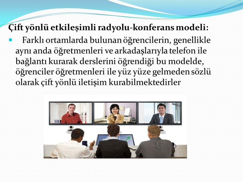 Çift yönlü etkileşimli radyolu-konferans modeli: Farklı ortamlarda bulunan öğrencilerin, genellikle aynı anda öğretmenleri ve arkadaşlarıyla telefon i