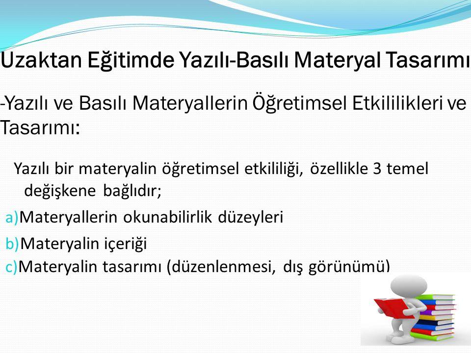 Uzaktan Eğitimde Yazılı-Basılı Materyal Tasarımı Yazılı bir materyalin öğretimsel etkililiği, özellikle 3 temel değişkene bağlıdır; a) Materyallerin o
