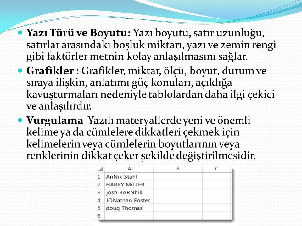 Yazı Türü ve Boyutu: Yazı boyutu, satır uzunluğu, satırlar arasındaki boşluk miktarı, yazı ve zemin rengi gibi faktörler metnin kolay anlaşılmasını sa