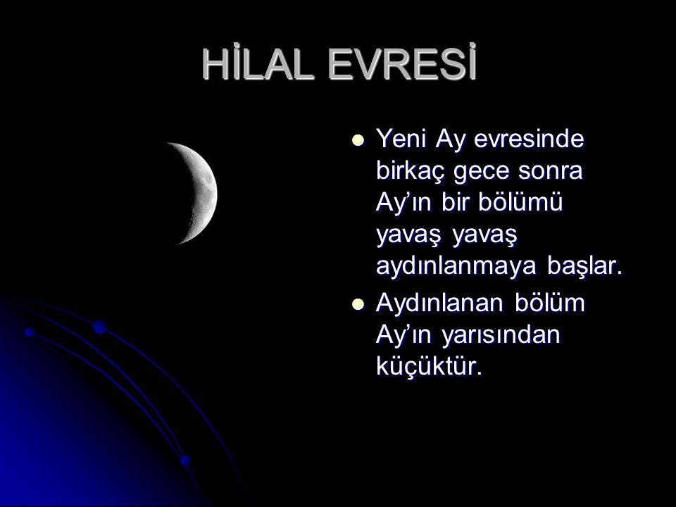 YENİ AY Ay'ın gözlemlediğimiz evresidir. Ay'ın gözlemlediğimiz evresidir. Bu evrede Ay Güneş ile beraber doğar ve Güneş ile beraber batar. Bu evrede A