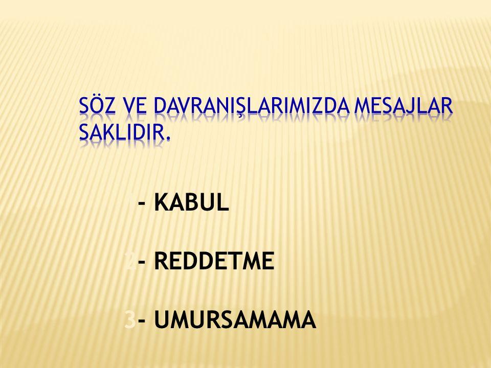 1- KABUL 2- REDDETME 3- UMURSAMAMA