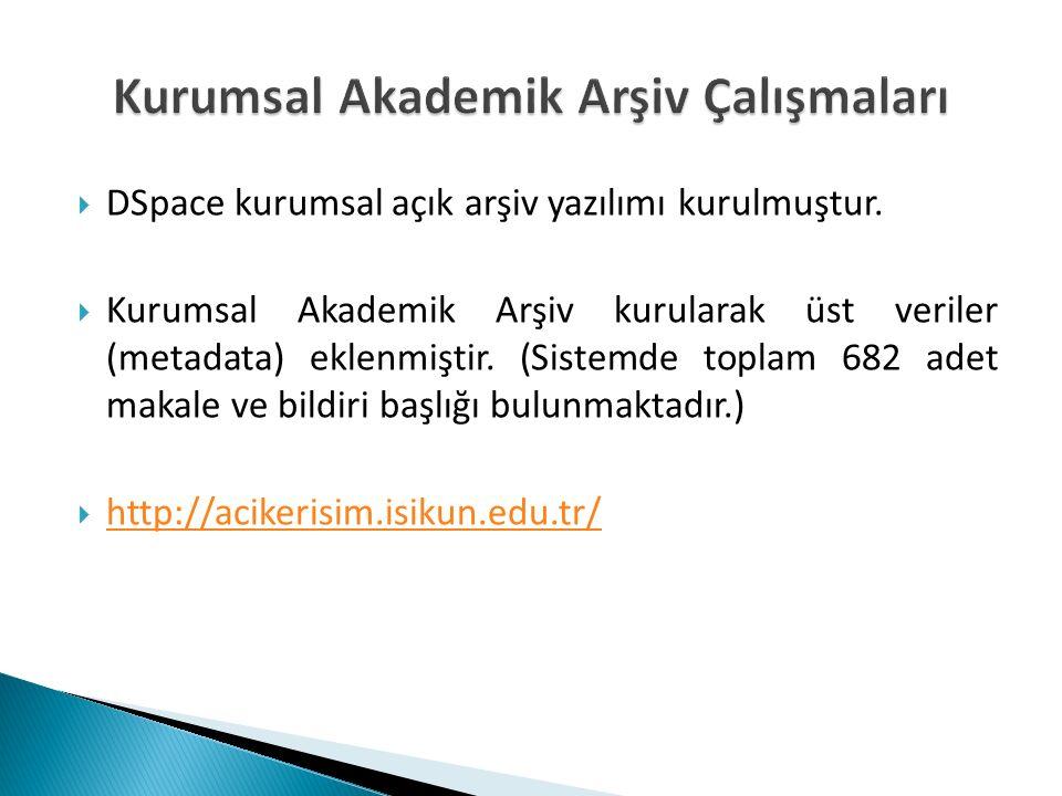  DSpace kurumsal açık arşiv yazılımı kurulmuştur.