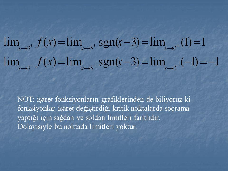 ÖRNEK1: Fonksiyonunun x = 3 noktasında limitini araştıralım. X -  3 +  x - 3 - + -1 1 ÇÖZÜM: